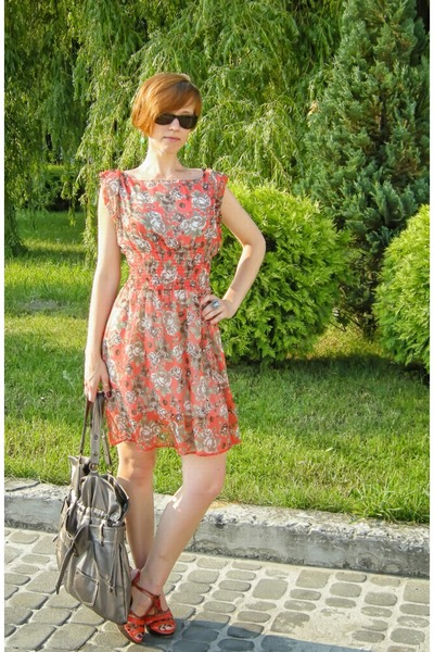 orange floral modo dress - carrot orange next sandals