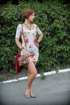 eggshell floral Atmosphere dress - brown new look bag - brick red Mexx cardigan