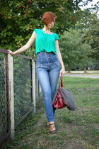brown mary jane George shoes - blue high waisted Topshop jeans