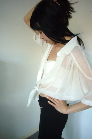 cream cropped bralet Dotti top - white chiffon dots shirt - black zippers pants