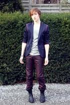 navy Topman blazer - silver Zara t-shirt - maroon Zara jeans - black Topman boot
