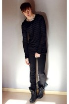 black Topman boots - black Diesel jeans - white COS t-shirt - black asos jumper