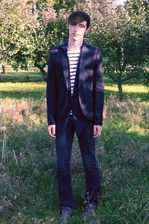 navy Topman blazer - navy somewhere cardigan - navy COS t-shirt - navy Levis jea