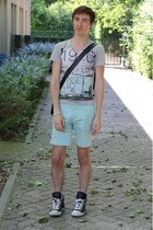 aquamarine H&M shorts - black vespas ben sherman bag