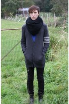 black Zara scarf - gray peoples market cardigan - black Diesel pants - black Sca