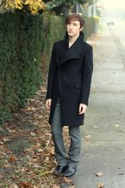 black Zara coat - charcoal gray Topman pants - black Zara boots