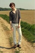 eggshell Zara pants - burnt orange asos shoes - light brown Zara jumper