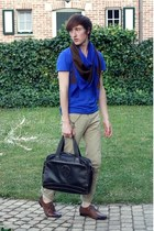 dark brown asos shoes - blue Zara scarf - dark brown Esprit bag - blue Zara t-sh