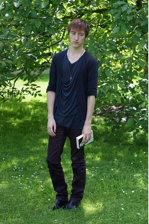 forest green Religion t-shirt - black H&amp;M boots - crimson Zara jeans