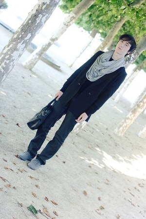 silver asos scarf - black H&M blazer - black LaRedoute jumper - dark gray Zara j
