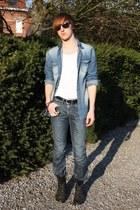 light blue Zara shirt - white Zara t-shirt - blue Levis jeans - black Topman boo