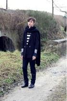 black Zara boots - black H&M blazer - black Zara scarf - navy Lanvin 3 H&M pants