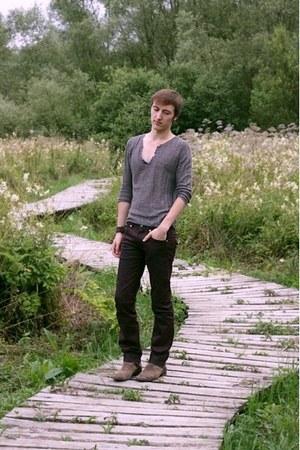 brown Topman boots - crimson Zara jeans - light brown Zara t-shirt