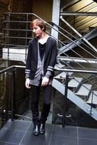 black Topman blazer - silver asos cardigan - black asos t-shirt - black Diesel p