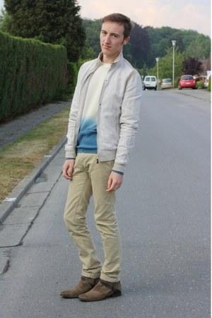 brown Topman boots - eggshell Zara jacket - camel Topman pants - turquoise blue