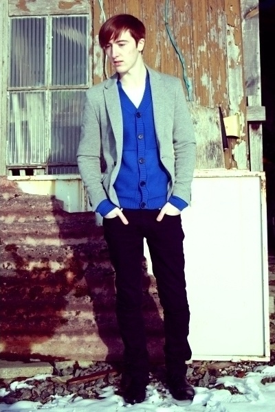 silver Zara blazer - blue H&M cardigan - black Zara pants - black Zara boots