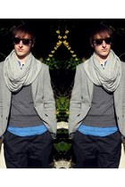 silver Zara blazer - blue Zara shirt - silver asos scarf - black Zara sunglasses