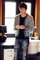 silver no brand jacket - gray Zara jeans - black Uniqlo t-shirt