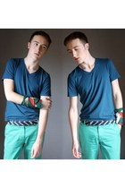 forest green vintage scarf - navy Tommy Hilfiger belt - aquamarine asos pants -