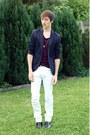 Black-h-m-boots-white-zara-jeans-navy-topman-blazer-magenta-zara-t-shirt