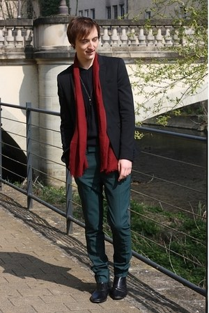forest green asos pants - black H&M boots - black asos blazer