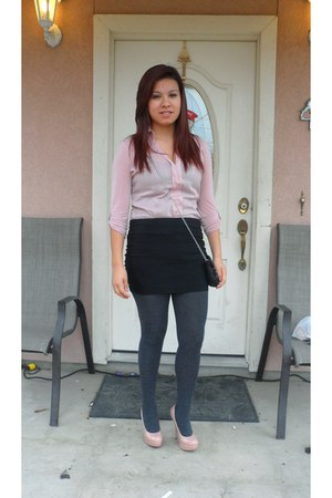 light pink Marshalls shirt - charcoal gray tights - black Agaci skirt