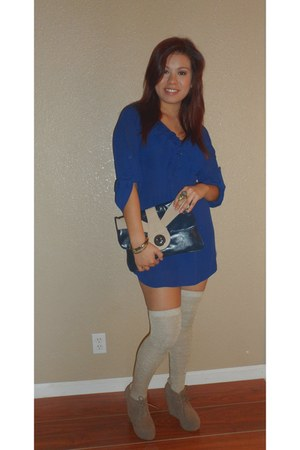 navy Express dress - tan Melrose bag - camel asoscom socks - brown Agaci wedges