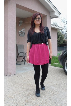 hot pink dress - black tailored cardigan - black Forever 21 top