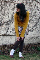 white Mossimo shirt - gold merona cardigan - white Mossimo skirt - brown Target 