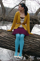 white naturalizer shoes - blue Urban Outfitters tights - purple Forever 21 skirt