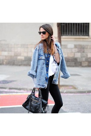 sky blue Zara jacket - black Mango bag - black Ray Ban sunglasses