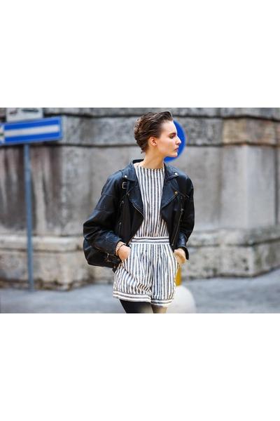 black Zara jacket - black Mango bag