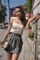 charcoal gray Zara skirt - tan Zara bag - beige Pimkie top - camel H&M bracelet