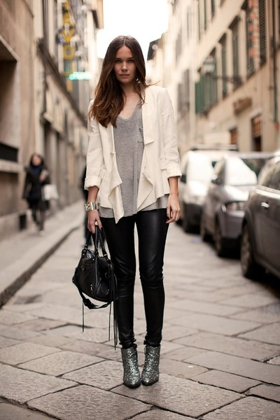 eggshell pull&bear jacket - heather gray Zara boots