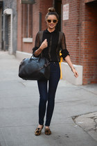 black Zara blouse - navy Stradivarius jeans