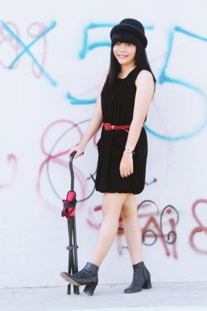 black boots - black dress - black hat - red belt - black watch