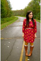 red Target dress - gold Anthropologie tights - silver Target socks - brown Ruche