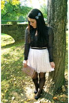 white Forever21 skirt - black H&M blouse - pink Forever21 purse - black Urban Ou