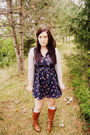Blue-forever-21-dress-gray-martin-and-osa-cardigan-brown-ruche-boots