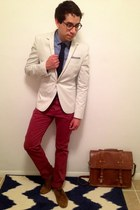 maroon H&M jeans - ivory H&M blazer - burnt orange asos bag