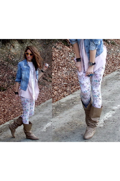 Bershka jacket - Pull and Bear t-shirt - vintage shirt - Zara leggings - Bershka