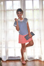 Dark-gray-bag-light-pink-sole-sister-flats-light-orange-topshop-skirt