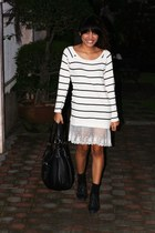 black boots - Little Miss Marie dress - black Topshop bag - Freeway shorts - bla