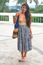 heather gray floral Tsubaki skirt - H&M bag - white Zara sandals