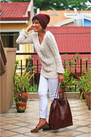 crimson beanie Forever 21 hat - camel Zara sweater