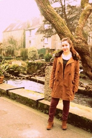 tawny asos coat - brown Minelli boots - maroon Newlook jeans