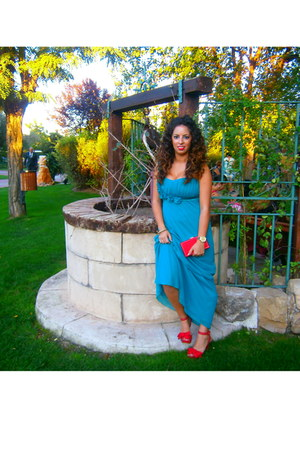 red marypaz bag - teal mango dress - red marypaz heels