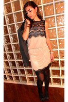 light pink La Redoute dress - black La Redoute jacket - black La Redoute tights