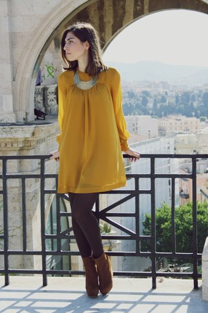 mustard H&M dress - burnt orange Primark wedges - yellow Primark necklace