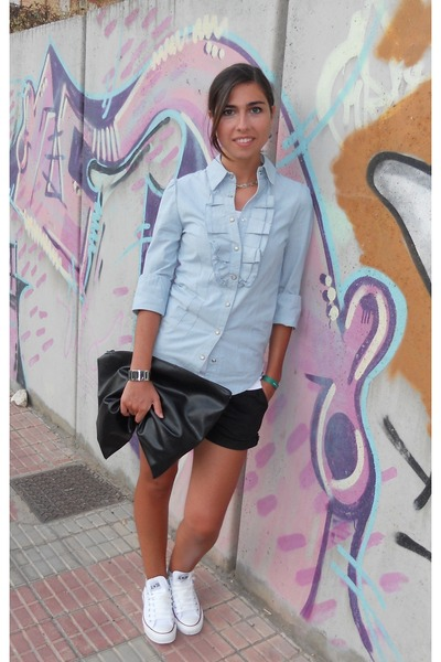 light blue Mint&Berry shirt - black DIY bag - white Converse sneakers